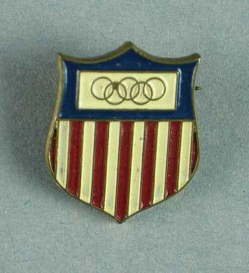 Badge - USA Olympic Team badge worn at the 1956 Melbourne Olympic Games; Trophies and awards; 2006.4825.3