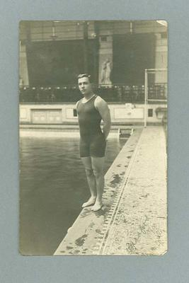Photographic postcard of Frank Beaurepaire, Bradford Central Baths 1910; Documents and books; 2006.4823