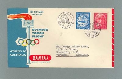 First-day Cover issued in Olympia, Greece 1956 Olympic Games Torch Flight 2/11/56; Philatelics and currency; 2006.4829.1