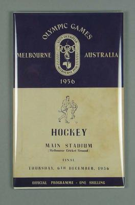 Programme for 1956 Olympic Games hockey final, 6 December; Documents and books; 1996.3153.14