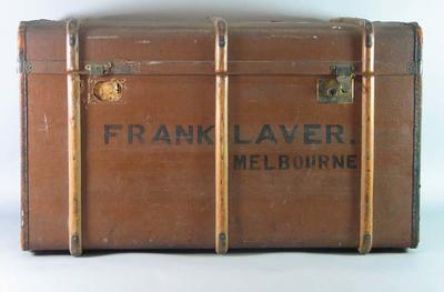 Large brown travelling trunk, used by Frank Laver c1905