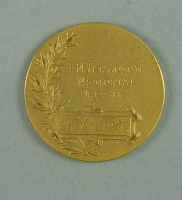 Medal - T.M. Ferguson Memorial Trophy, Hawthorn v Melbourne, 26 June 1959, presented to Brian Dixon