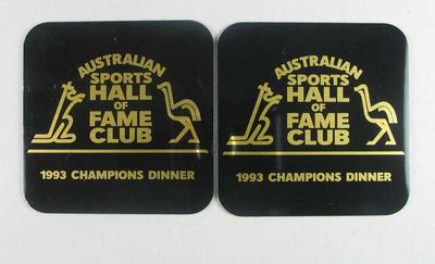 Coasters x 2 - 1993 Champions Dinner, Australian Sports Hall of Fame Club, Brian Dixon collection