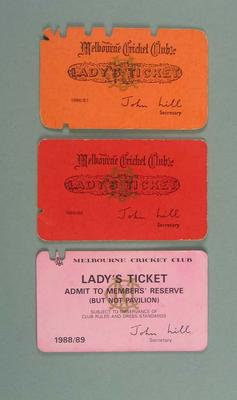 Lady's Tickets x 3 -  MCG Members Reserve 1986-1989 - Brian Dixon collection