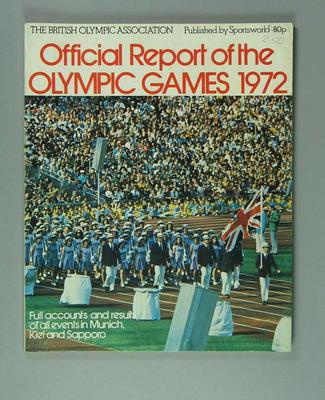 Booklet, British Olympic Association Report of the 1972 Olympic Games