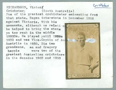 Trade card featuring Victor Richardson, Wills Cigarettes c1930s