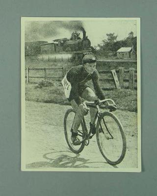 Photograph of poster [?] - Iddo Munro racing a steam train  c.1909