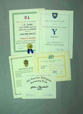 Certificates/Diploma x 27 awarded to John B. Marshall by Yale University, FINA, American and Australian Swimming associations; Documents and books; 1998.3371.10