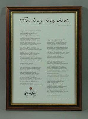 Framed poem, 'The Long Story Short'