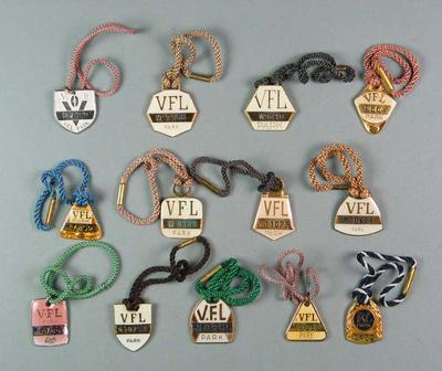 Thirteen VFL Park membership medallions, seasons 1970-1982