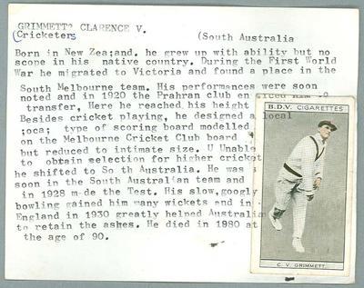 Trade card featuring Clarrie Grimmett, BDV Cigarettes c1930s