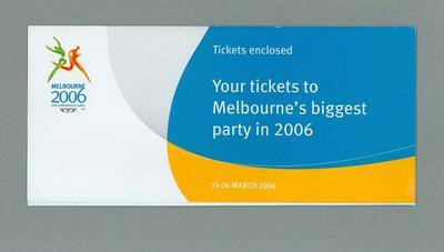 Ticket Envelope - 2006 Melbourne Commonwealth Games