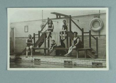 Postcard, image of family group at Borough of Eastbourne Baths - 1910