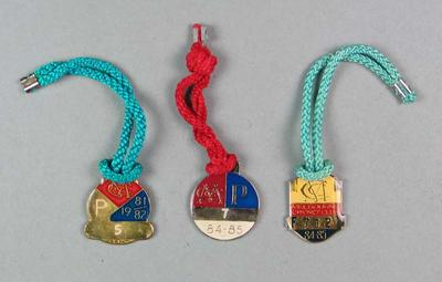 Three Melbourne Cricket Club medallions, issued to John Lill