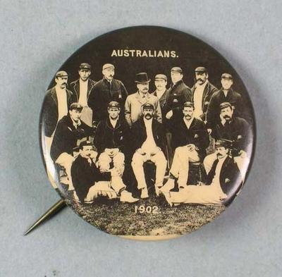 Badge featuring the image of the Australian Cricket Team, 1902