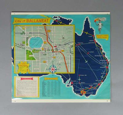 Map of the City of Ballaarat superimposed onto map of Australia - 1956 Olympic Torch Relay route.
