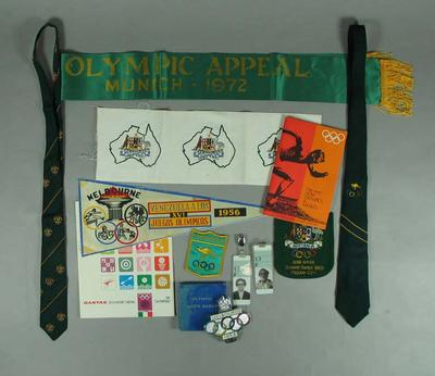 Olympic memorabilia from Tom Wigley's suitcase, 1956-1972 Olympic Games