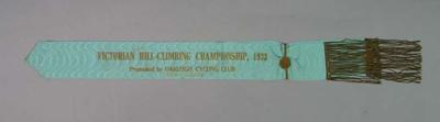 Sash -  Victorian Hill Climbing Championship 1933 , won by R. Amott, promoted by Oakleigh Cycling Club