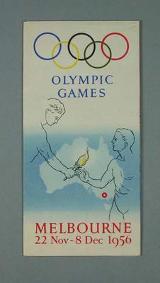 Map for Melbourne during 1956 Olympic Games; Documents and books; 1987.1628.5