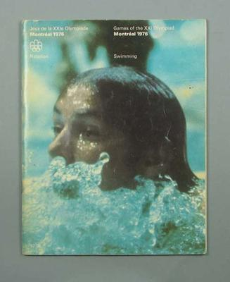 Programme for 1976 Olympic Games swimming events, 18-27 July; Documents and books; 1991.2479.4