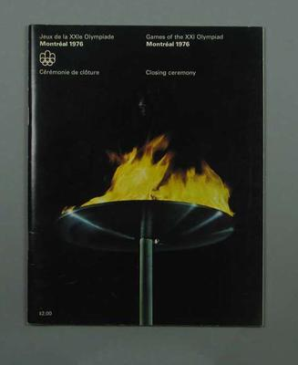 Programme for 1976 Olympic Games Closing Ceremony, 1 August; Documents and books; 1991.2479.5