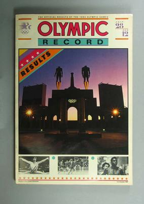 """Book, """"The Official Results of the 1984 Olympic Games""""; Documents and books; 1991.2479.8"""
