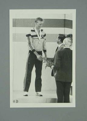Photograph of Rob Woodhouse accepting bronze medal, 1984 Olympic Games; Photography; 1991.2479.13