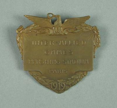 Bronze medal presented to Frank Beaurepaire, Inter-allied Games - 1919