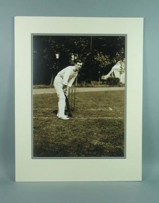 Mounted black & white photograph of cricketer Vernon Ransford
