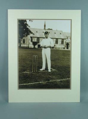 Mounted black & white photograph of cricketer Albert Cotter