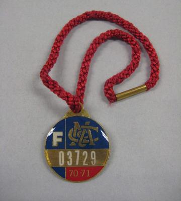 Melbourne Cricket Club Medallion, 1970/71, with red lanyard; Trophies and awards; M15822.1