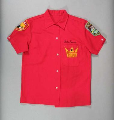 Keystone Kops shirt, worn by Rita Smeets for ten pin bowling competitions c1960s