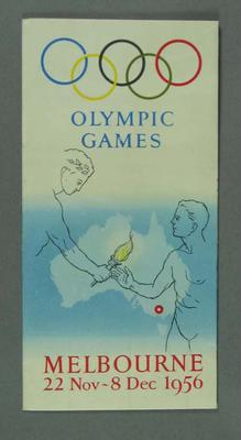 Brochure, 1956 Melbourne Olympic Games; Documents and books; 1990.2198.4