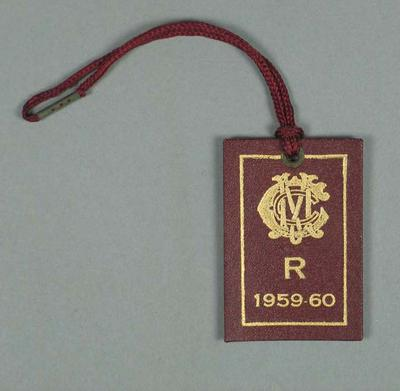 Restricted membership card issued by the MCC for season 1959/60