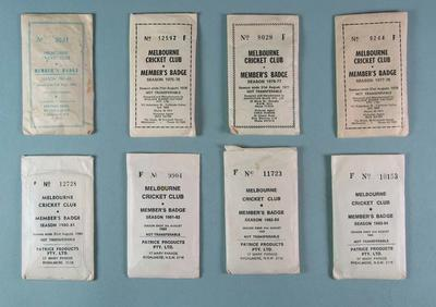 Eight Melbourne Cricket Club membership sets, each containing membership medallion, lady's ticket and envelope; Trophies and awards; Documents and books; Trophies and awards; M15823.1