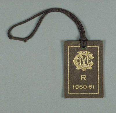 Restricted membership card issued by the MCC for season 1960/61