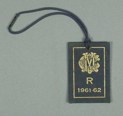 Restricted membership card issued by the MCC for season 1961/62