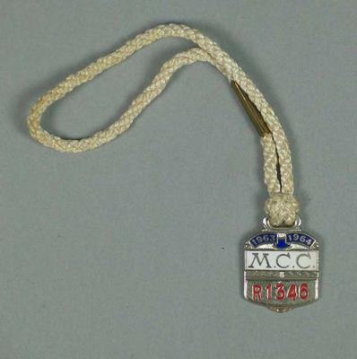 Restricted membership medallion issued by the MCC for season 1963/64