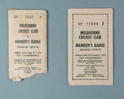Two incomplete Melbourne Cricket Club membership sets, each containing lady's ticket and envelope; Documents and books; Trophies and awards; M15823.2