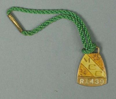 Restricted membership medallion issued by the MCC for season 1964/65