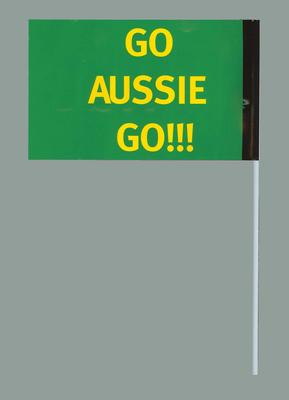 Miniature flag - 'Go Aussie Go!', 2006 Powerade Cup soccer match Greece v Australia