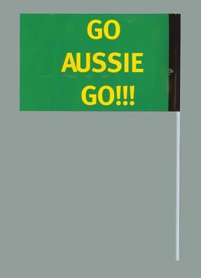 Miniature flag - 'Go Aussie Go!', 2006 Powerade Cup soccer match Greece v Australia; Civic mementoes; 2006.4893.21