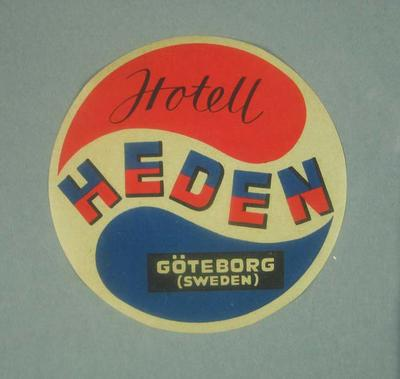 """Paper tag, """"Hotell Heden"""" c1950s"""