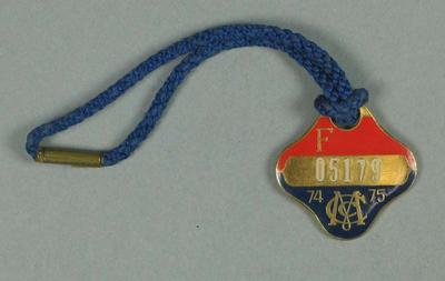 Full membership medallion issued by the MCC for season 1974/75
