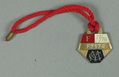 Full membership medallion issued by the MCC for season 1977/78