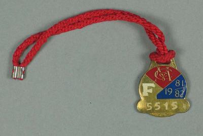Full membership medallion issued by the MCC for season 1981/82
