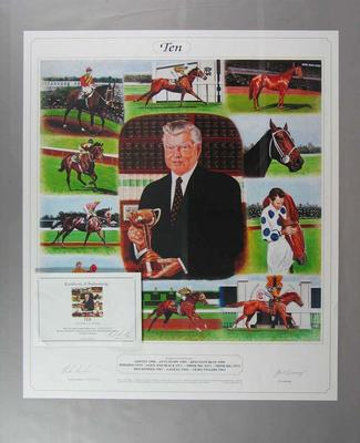 Print - 'Ten' commemorating Bart Cummings training 10 Melbourne Cup winners, edition 269/1250 signed by Bart Cummings and artist Rick Sinclair