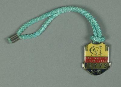 Full membership medallion issued by the MCC for season 1984/85
