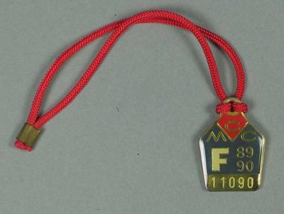 Full membership medallion issued by the MCC for season 1989/90
