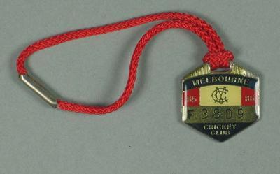 Full membership medallion issued by the MCC for season 1985/86